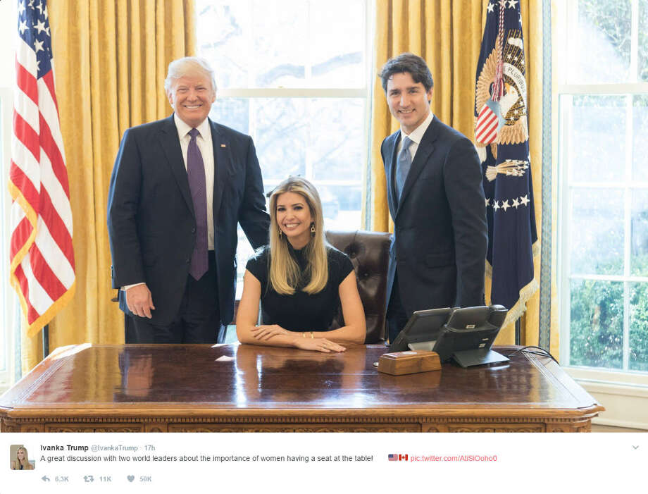 Ivanka Trump shared a photo of her seated at the desk in the Oval Office with her father, President Donald Trump and Prime Minister Justin Trudeau. She quickly received backlash over her being seated at the desk with the two men. Source: Twitter Photo: Twitter