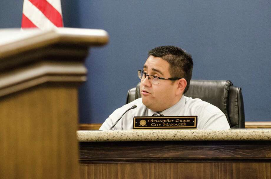 Nederland City Manager Chrsitopher Duque discusses two project options concerning the reconstruction of Nederland Avenue in a Monday city council meeting. Photo taken Monday, February 13, 2017 Sara E. Flores/The Enterprise Photo: Sara E. Flores/The Enterprise