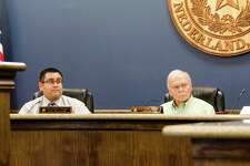 Nederland MayorRA 'Dick' Nugent and City Manager Chrsitopher Duque discuss two project options concerning the reconstruction of Nederland Avenue in a Monday city council meeting. Photo taken Monday, February 13, 2017 Sara E. Flores/The Enterprise