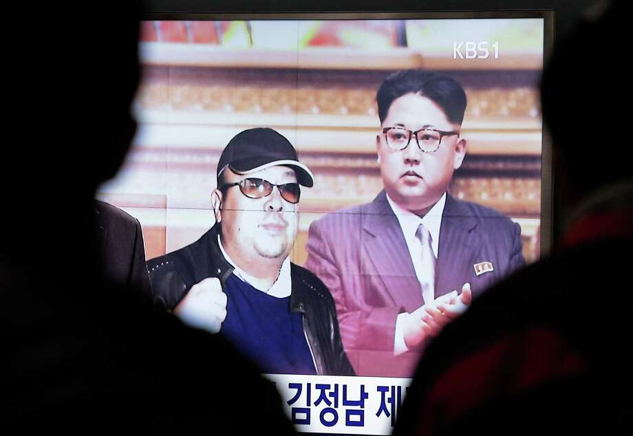 A TV screen shows pictures of North Korean leader Kim Jong Un and his older brother Kim Jong Nam, left, at the Seoul Railway Station in Seoul, South Korea, Tuesday, Feb. 14, 2017. Malaysian officials say a North Korean man has died after suddenly becoming ill at Kuala Lumpur's airport. The district police chief said Tuesday Feb. 14, 2017 he could not confirm South Korean media reports that the man was Kim Jong Nam, the older brother of North Korean leader Kim Jong Un. Photo: Ahn Young-joon, AP / Kim Jong Nam