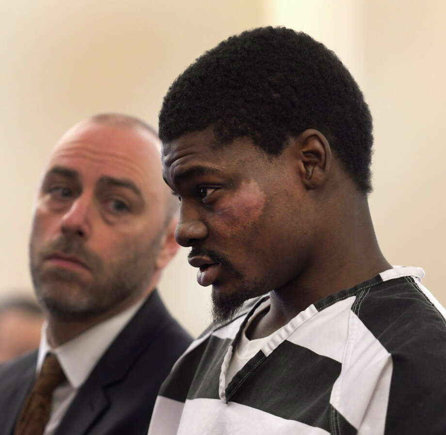 """Kareem Blacknall, aka """"Reem"""" stands with his attorney Brian Rounds, left in Albany County Court Wednesday Dec. 14, 2016 for his arraignment on charges he is alleged to have been the shooter in the Rocks Club shootings In Albany, N.Y. (Skip Dickstein/Times Union) Photo: SKIP DICKSTEIN / 20039114A"""