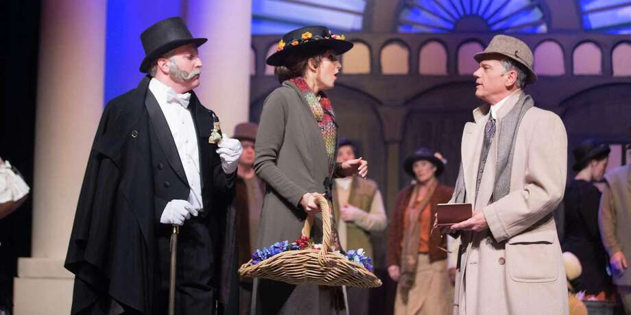"""Pictured from left to right are Jim King as Colonel Pickering, Sara Preisler as Eliza Doolittle and Michael Martin as Professor Henry Higgins in Stage Right's """"My Fair Lady"""" on stage at the Crighton Theatre through Feb. 26."""