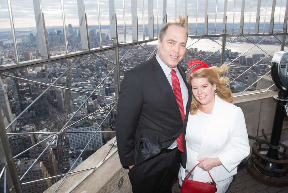 Connecticut residents Catherine Fiehn Malat and Eric LeStrange were married at the Empire State Building on Valentine's Day 2017. The couple won the Empire State Building's annual contest for a Valentine's Day wedding based on their unusual love story. Photo: Empire State Realty Trust