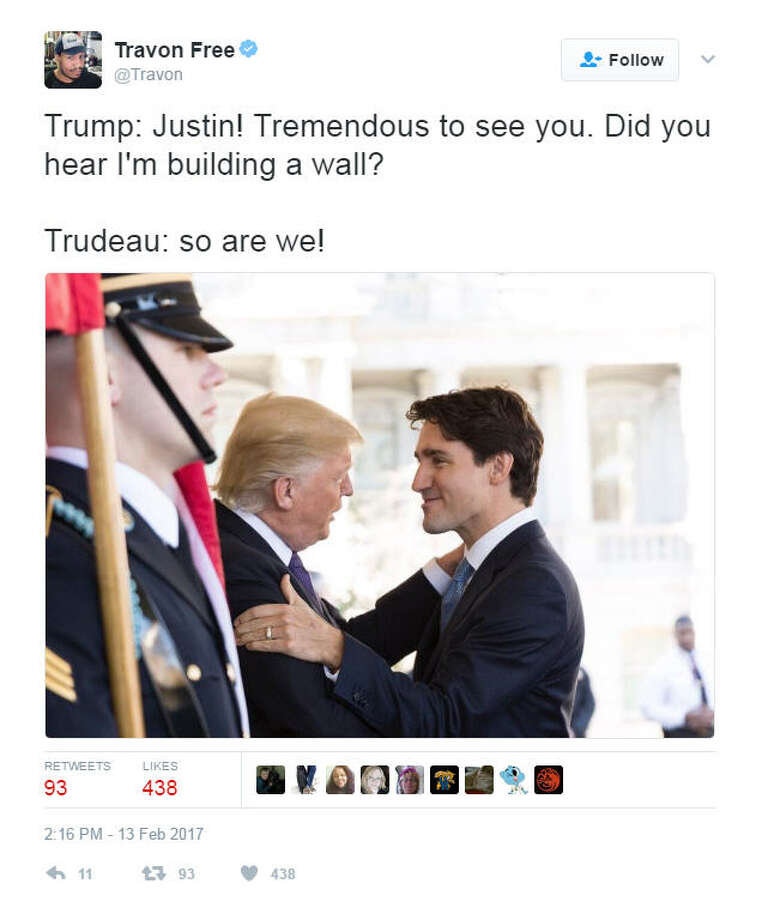"""""""Trump: Justin! Tremendous to see you. Did you hear I'm building a wall?Trudeau: so are we!""""Source: Twitter Photo: Twitter"""