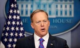 White House Press secretary Sean Spicer speaks to the media during the daily briefing in the Brady Press Briefing Room of the White House in Washington, Tuesday, Feb. 14, 2017.