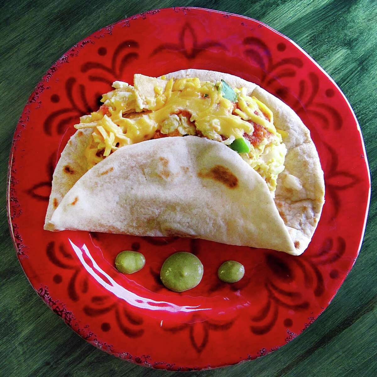 Taco of the Week: Chilaquiles taco on a handmade flour tortilla from Claudia's Restaurant on Pleasanton Road.
