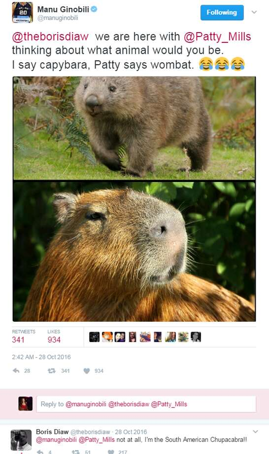 @manuginobili: @theborisdiaw we are here with @Patty_Mills thinking about what animal would you be.I say capybara, Patty says wombat.@theborisdiaw: not at all, I'm the South American Chupacabra!! Photo: Twitter.com