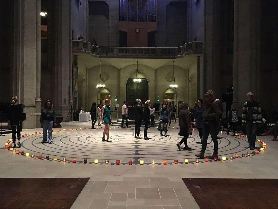 Grace Cathedral's indoor labyrinth Photo: Manna Kanuga