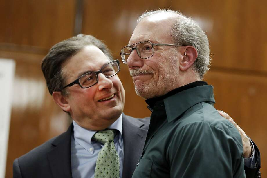 Stanley Patz (right), father of 6-year-old Etan Patz who disappeared 38 years ago, stands next to Assistant District Attorney Joel Seidemann at the second trial of Pedro Hernandez. Photo: Richard Drew, Associated Press