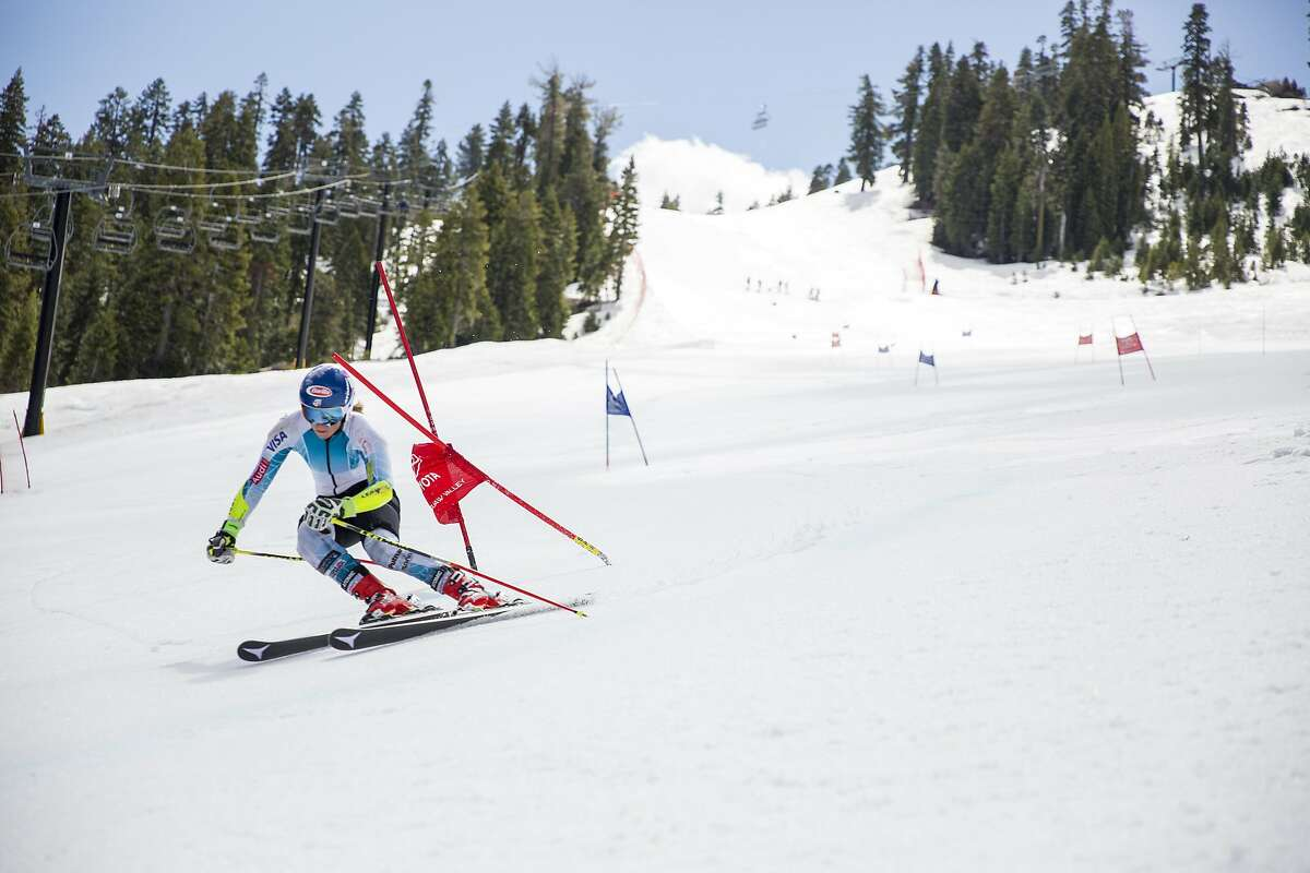 World Cup ski racer Mikael Shiffrin trains on the Red Dog course at Squaw Valley in the Spring of 2016. She will compete on the same course this Spring, when the Women's World Cup comes to Squaw Valley for Giant Slalom and Slalom races on March 9-12, 2017.