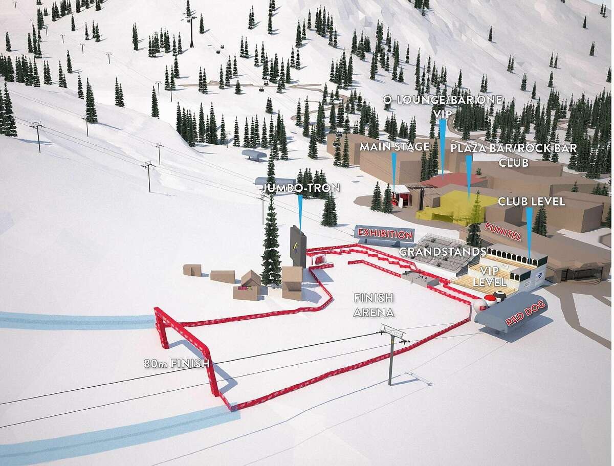 A rendering of the finish area for the upcoming Women's World Cup ski ract, to be held at Squaw Valley from March 9-12, 2017. (Courtesy of Squaw Valley)