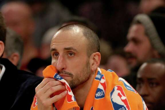Manu Ginobili of the Spurs looks on from the bench in the second half against the Knicks at Madison Square Garden on Feb. 12, 2017 in New York.