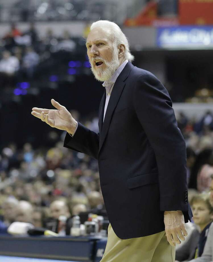 Spurs head coach Gregg Popovich questions a call during the first half against the Indiana Pacers on Feb. 13, 2017, in Indianapolis. Photo: Darron Cummings /Associated Press / Copyright 2017 The Associated Press. All rights reserved.
