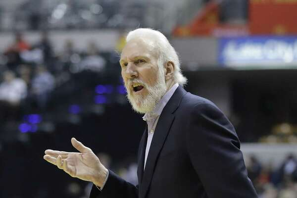Spurs head coach Gregg Popovich questions a call during the first half against the Indiana Pacers on Feb. 13, 2017, in Indianapolis.