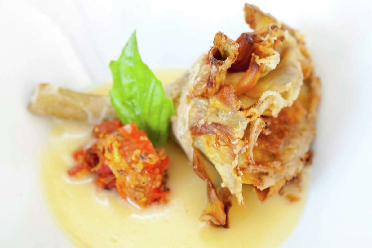Crispy long stem Roman artichoke with slow roasted tomato, basil, and lemon butter sauce is one of the new menu items at Tony Vallone's Ciao Bello restaurant. Ciao Bello has a new executive chef, Alan Paryzek.