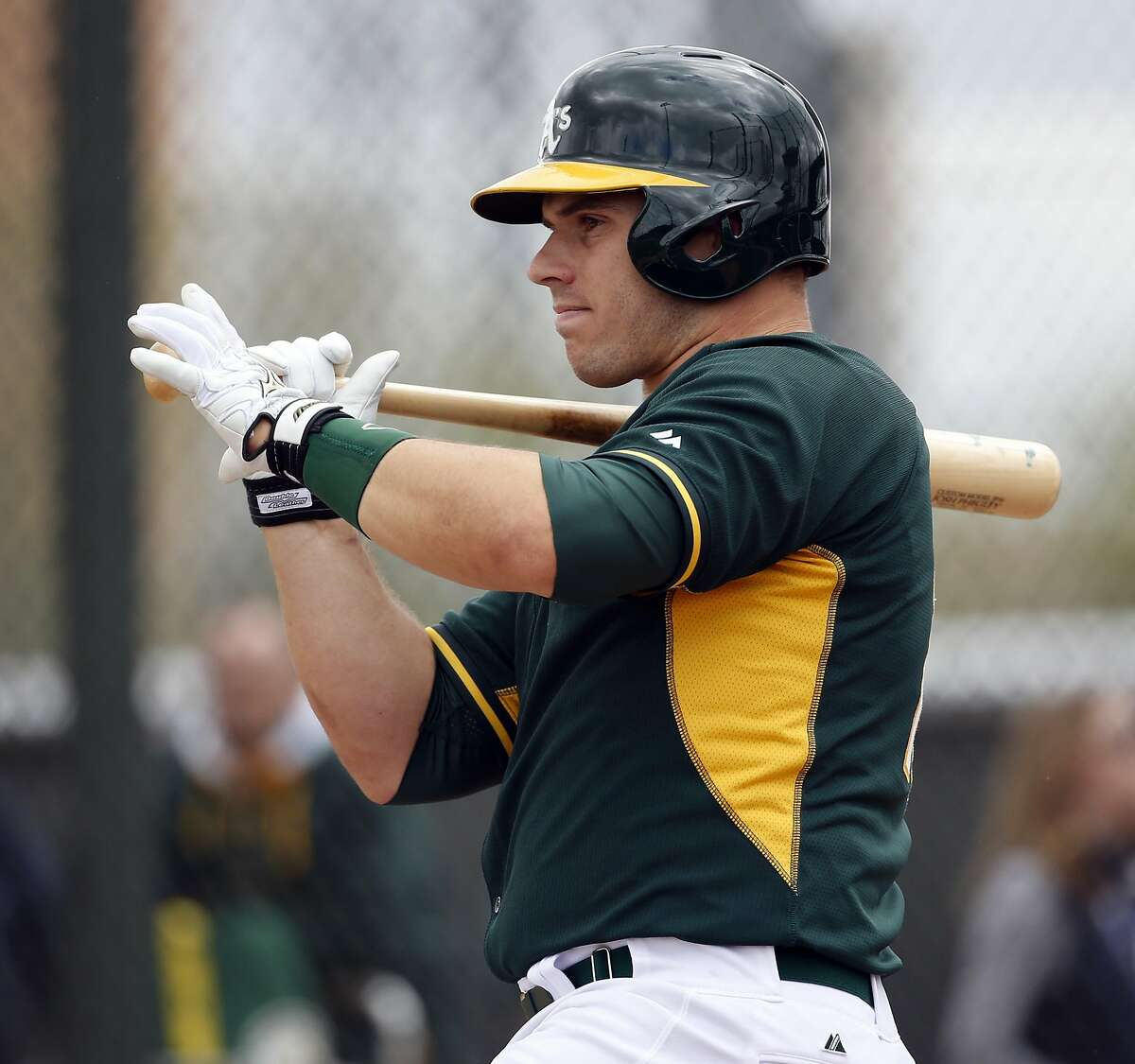 Oakland A' s Josh Phegley during intrasquad game at Spring Training at Fitch Park in Mesa, Arizona, on Saturday, February 28, 2015.
