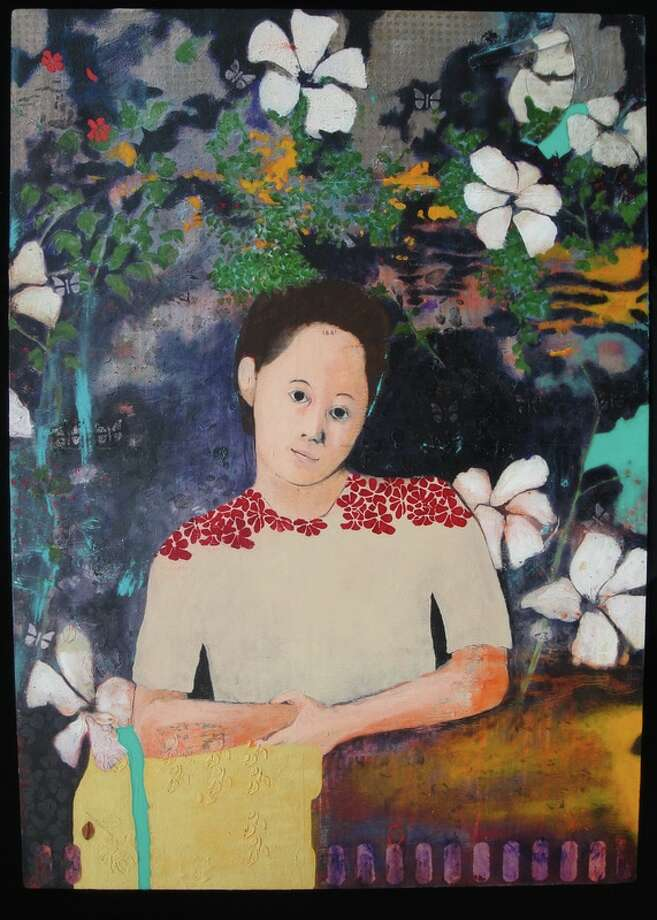 """A photo of the acrylic painting by Cleveland, Texas artist, Clark Nunn, titled """"Lee Ann,"""" which won the highest recognition in the 2017 Conroe Art League National Invitational art competition."""