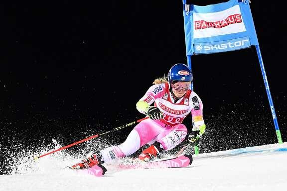 TOPSHOT - US' Mikaela Shiffrin competes during the FIS Ski World Cup Parallel Slalom city event at Hammarbybacken in Stockholm on January 31, 2017.  / AFP PHOTO / Jonathan NACKSTRANDJONATHAN NACKSTRAND/AFP/Getty Images