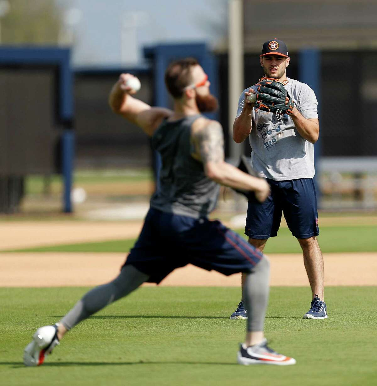 Houston Astros starting pitcher Lance McCullers and Dallas Keuchel throw during Astros pitchers and catchers report day at the Astros new spring training facility, The Ballpark of the Palm Beaches, in West Palm Beach, Florida, Tuesday, February 14, 2017. The Astros share the new ballpark with the Washington Nationals.
