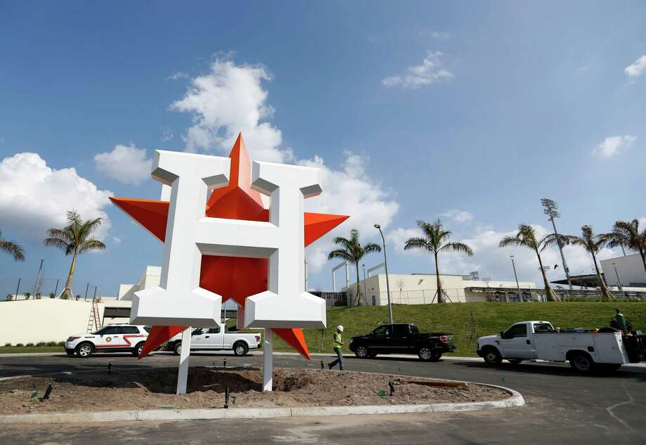 The Houston Astros logo out in front of their new spring training facility, The Ballpark of the Palm Beaches, in West Palm Beach, Florida, Tuesday, February 14, 2017.  The Astros share the new ballpark with the Washington Nationals. Photo: Karen Warren, Houston Chronicle / 2017 Houston Chronicle