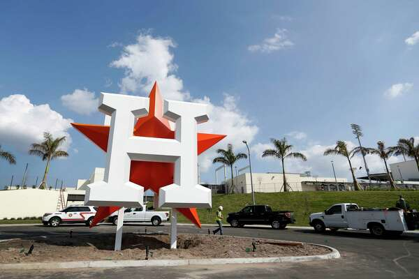The Houston Astros logo out in front of their new spring training facility, The Ballpark of the Palm Beaches, in West Palm Beach, Florida, Tuesday, February 14, 2017. The Astros share the new ballpark with the Washington Nationals.