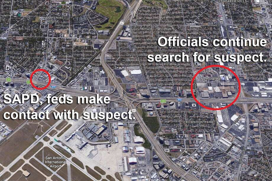 San Antonio police made contact with the suspect at a Jim's Restaurant at 8427 Broadway at about 2 p.m., where authorities attempted to take the man into custody, an officer said. The suspect then fled the scene towards North Star Mall, beginning a massive manhunt. Photo: Google
