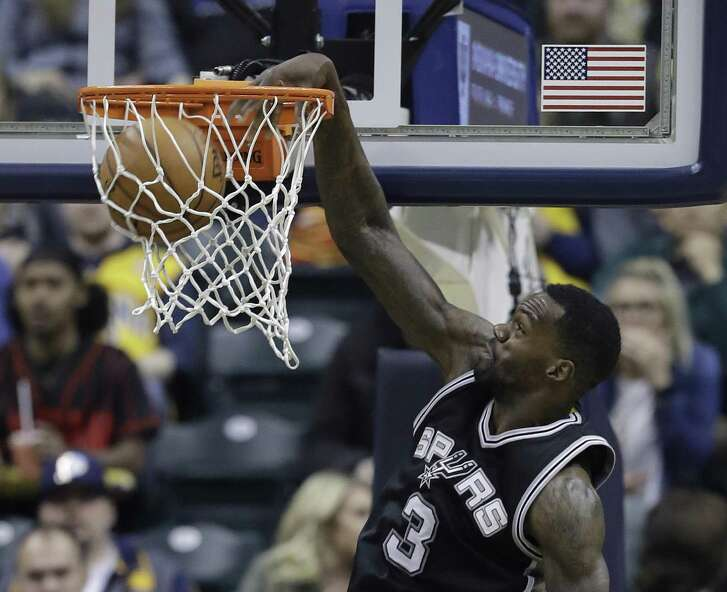 Spurs' Dewayne Dedmon dunks during the first half against the Indiana Pacers on Feb. 13, 2017, in Indianapolis.