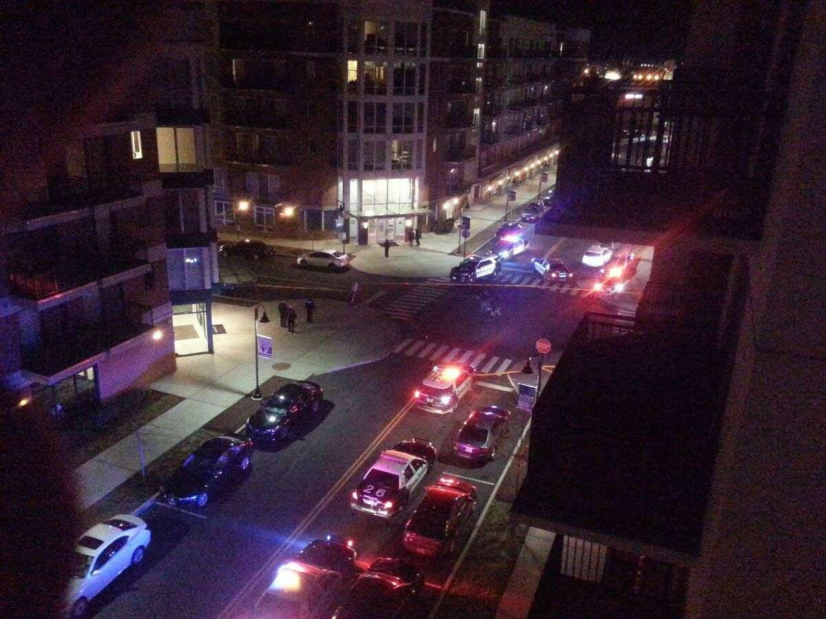 One man was injured during a shootout at the end of a Super Bowl party at a luxury apartment building at 111 Towne Street in Stamford, Conn at 11 p.m. on Sunday, Feb. 5, 2017.