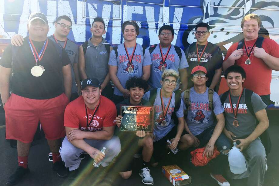 The Plainview boys' powerlifting team ran away with the title at the Levelland meet. The Bulldogs scored 53 points to far outdistance runner-up Seagraves, which had 19 points. Photo: Courtesy Photo
