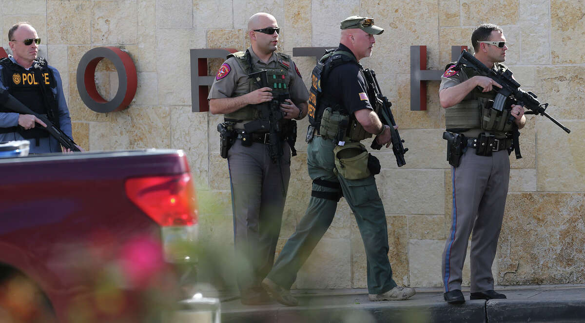 Heavy police presence at North Star Mall Tuesday February 14, 2017.