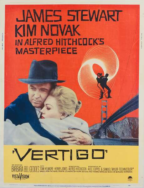 A poster for Alfred Hitchcock's 1958 psychological thriller, 'Vertigo', starring James Stewart and Kim Novak. Photo: Getty Images