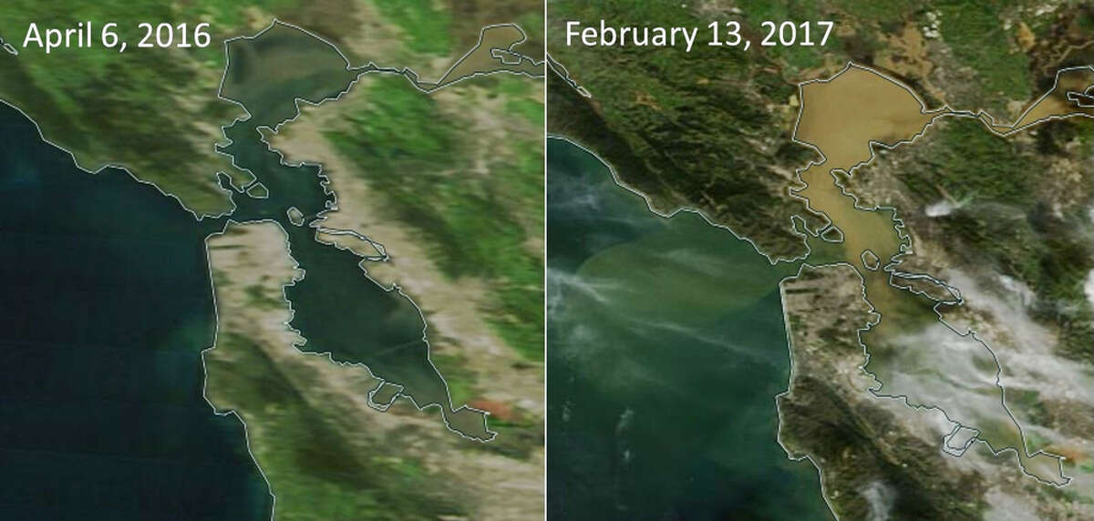 Once a dark green, the San Francisco Bay now resembles peanut butter.