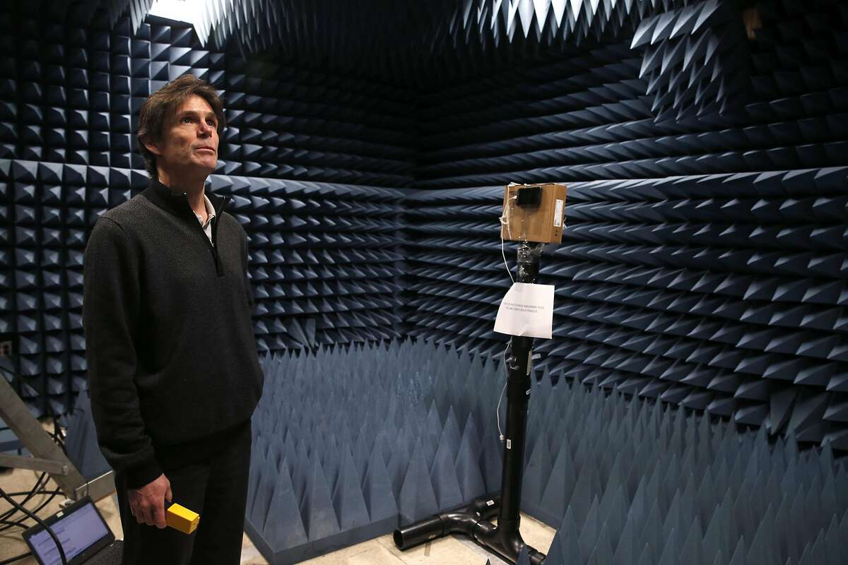 AT&T technical engineer Paul Maxwell stands inside an anechoic chamber in San Ramon, Calif. on Tuesday, Feb. 14, 2017, where Internet of Things devices were tested for compliance with the LTE-M network. AT&T is launching its LTE-M network nationwide by the middle of 2017 to accommodate Internet of Things devices operating wirelessly.