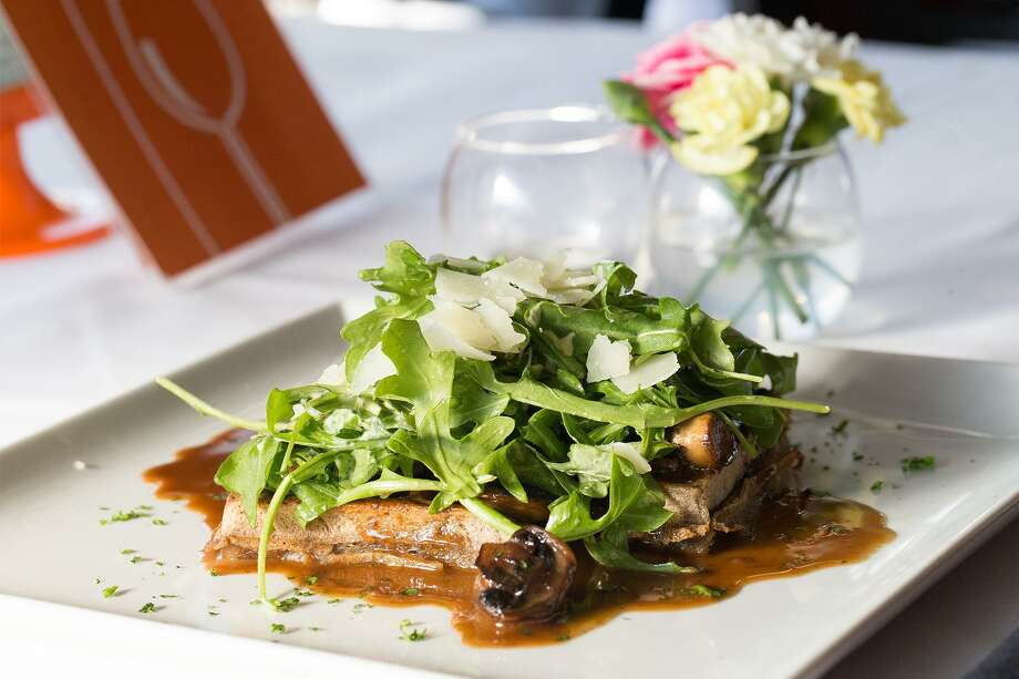 The eggplant waffle with wild mushrooms and arugula at Bite. Photo: Marvin Pfeiffer /For The Express-News / Express-News 2017