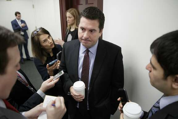 House Intelligence Committee Chairman Rep. Devin Nunes, R-Calif., is questioned by reporters on Capitol Hill in Washington, Tuesday, Feb. 14, 2017, on the ouster of Michael Flynn, President Trump's national security adviser. (AP Photo/J. Scott Applewhite)