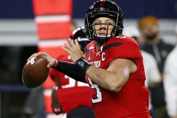 Texas Tech quarterback Patrick Mahomes looks to throw against Baylor during the first half on Nov. 25, 2016, in Arlington.