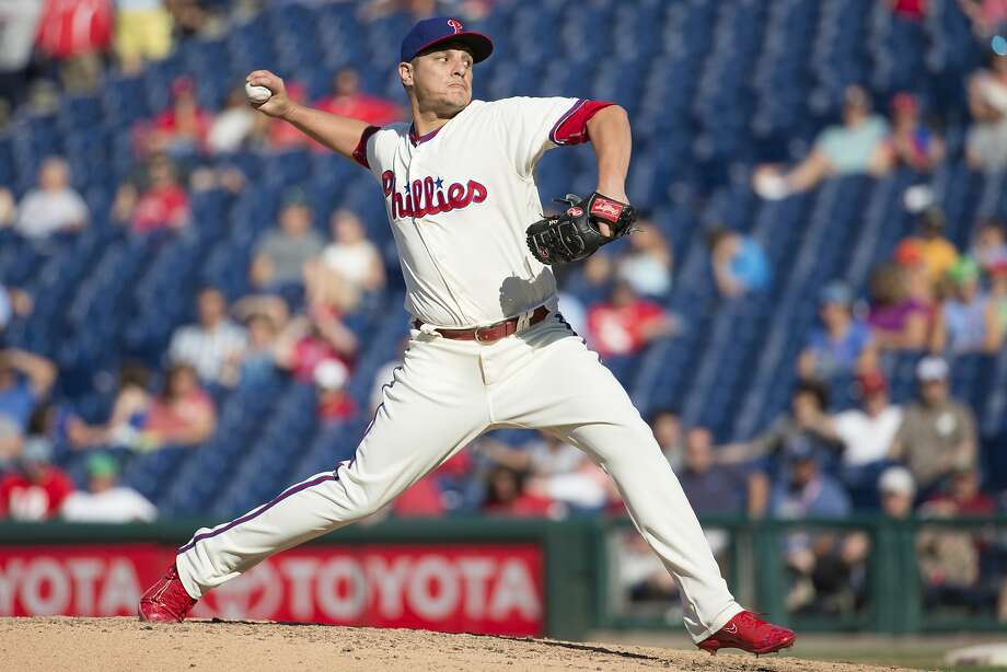 Philadelphia Phillies relief pitcher David Hernandez throws a pitch during the ninth inning of a baseball game against the Atlanta Braves, Sunday, Sept. 4, 2016, in Philadelphia. The Braves won 2-0. (AP Photo/Chris Szagola) Photo: Chris Szagola, AP