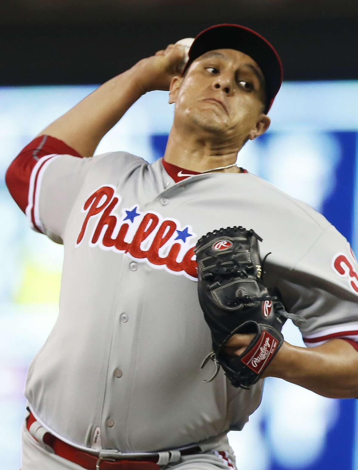 Philadelphia Phillies relief pitcher David Hernandez throws against the Minnesota Twins during the seventh inning of a baseball game Wednesday, June 22, 2016, in Minneapolis. The Twins won 6-5. Hernandez took the loss. (AP Photo/Jim Mone)