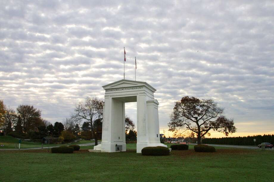 """The Peace Arch in Blaine: Girl Guides of Canada is barring travel into the United States """"until further notice,"""" worried that a group member or members will be turned back at the U.S.-Canada border. Photo: Getty Images"""