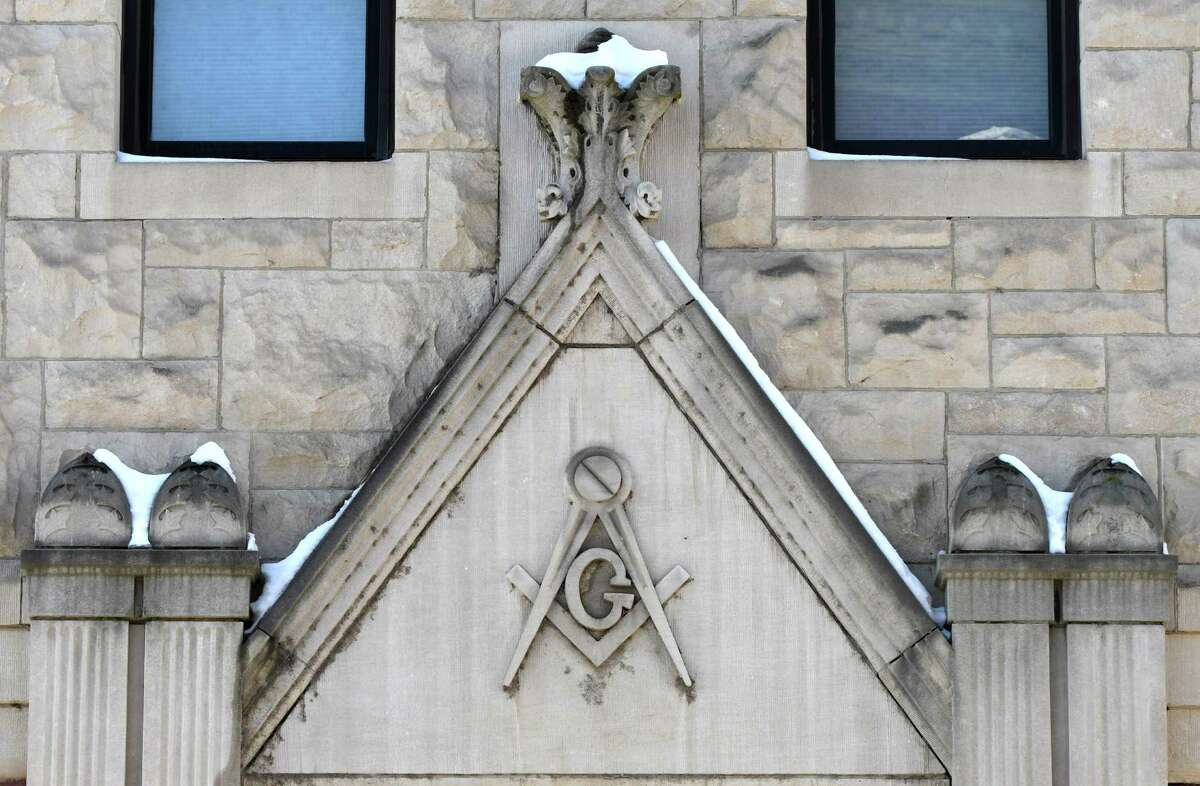 Detail above the doorway of a former Masonic Temple at 130 Remsen St. on Tuesday, Feb. 14, 2017, in Cohoes, N.Y. (Will Waldron/Times Union)