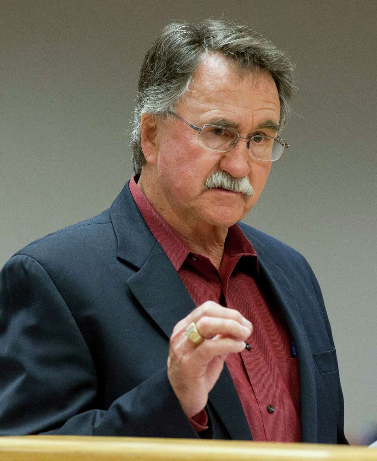 Former Conroe Mayor Webb Melder speaks during a special session to appoint a representative for the Lone Star Groundwater Conservation District board during the Montgomery County Commissioners Court meeting Tuesday, Feb. 14, 2017, in Conroe.