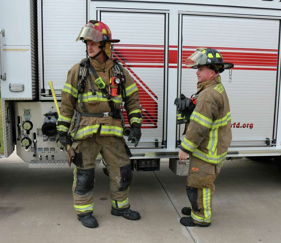Deer Park Volunteer Fire Department is looking to add to the ranks of its staff, which includes Nathan Simecek, left, and Jay Campbell.