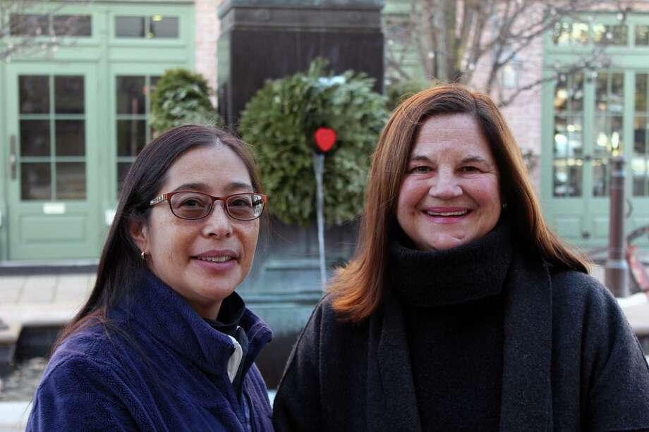 Sabina Harris and Karen Hughan, co-chairs of the Tree Conservancy of Darien, in Darien, Conn., on Feb. 13, 2017. Photo: Justin Papp / Hearst Connecticut Media / Darien News