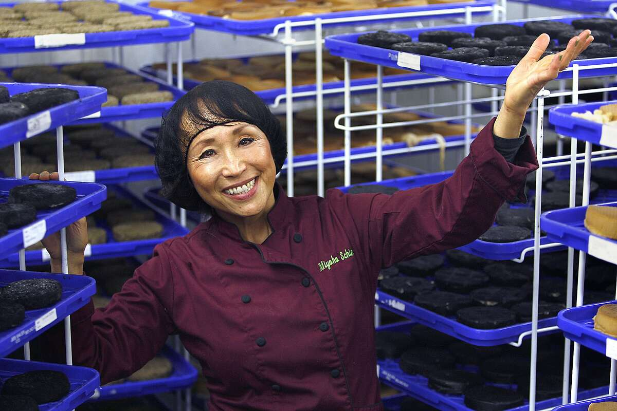 CEO and founder Miyoko Schinner who makes artisanal vegan cheese from cultured nuts and nut milks, shows the cheese aging room in Fairfax, Calif., on Tuesday, December 30, 2014.