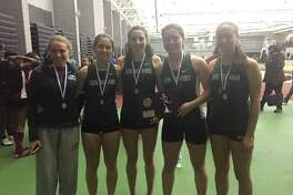 From left to right, Sara Grudzwick, Riley Peragine, Mia Nahom, Raquel Morehouse and Brigit Humphreys scored for the New Milford High School track team in the state championship last weekend.