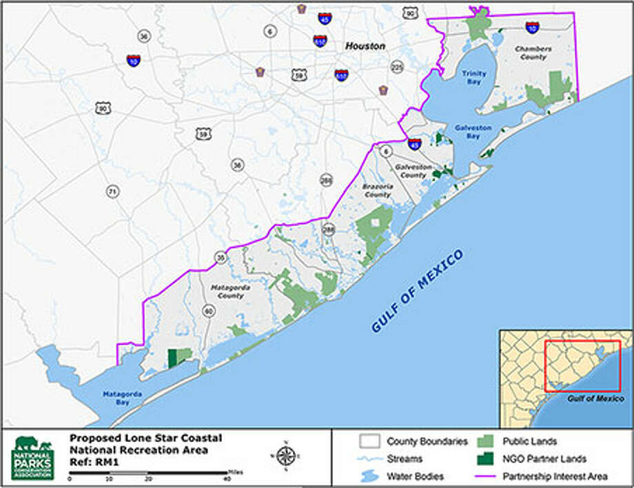 Map shows proposed  Lone Star Coastal National Recreation Area. Jefferson County coastline could be added to it soon to make a contiguous 250,000-acre national recreation area as a unit of the National Park Service. Photo: Dan Wallach