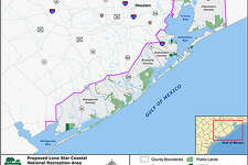 Map shows proposed  Lone Star Coastal National Recreation Area. Jefferson County coastline could be added to it soon to make a contiguous 250,000-acre national recreation area as a unit of the National Park Service.