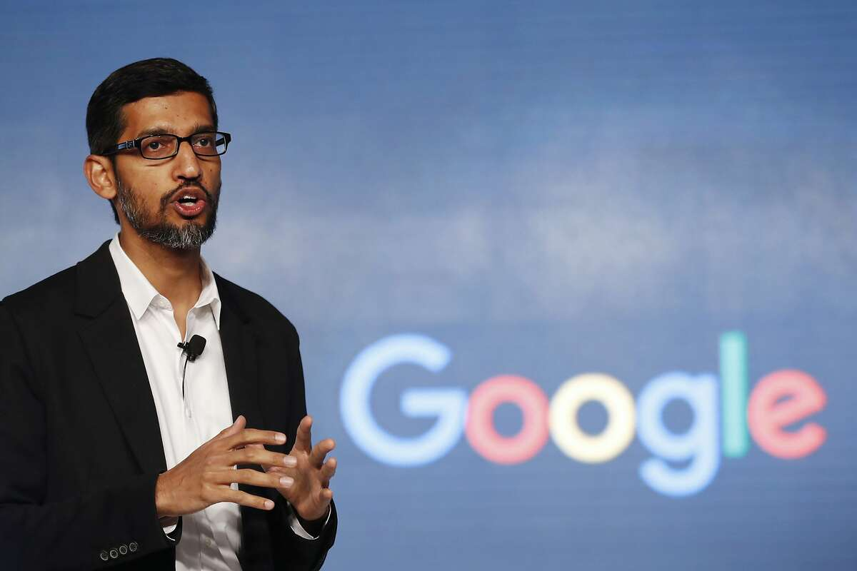 FILE - In this Wednesday, Jan. 4, 2017, file photo, Google CEO Sundar Pichai speaks during a news conference on Google's collaboration with small scale local businesses in New Delhi. U.S. tech companies fear the Trump administration will target a visa program they cherish for bringing in engineers and other specialized workers from other countries. Although these visas, known as H-1B, aren�t supposed to displace American workers, critics say safeguards are weak. This comes amid a temporary ban on nationals of seven Muslim-majority countries from entering the U.S., including those who are employed by Google and other tech companies but were out of the country when the surprise order was issued Friday, Jan. 27. (AP Photo/Tsering Topgyal, File)