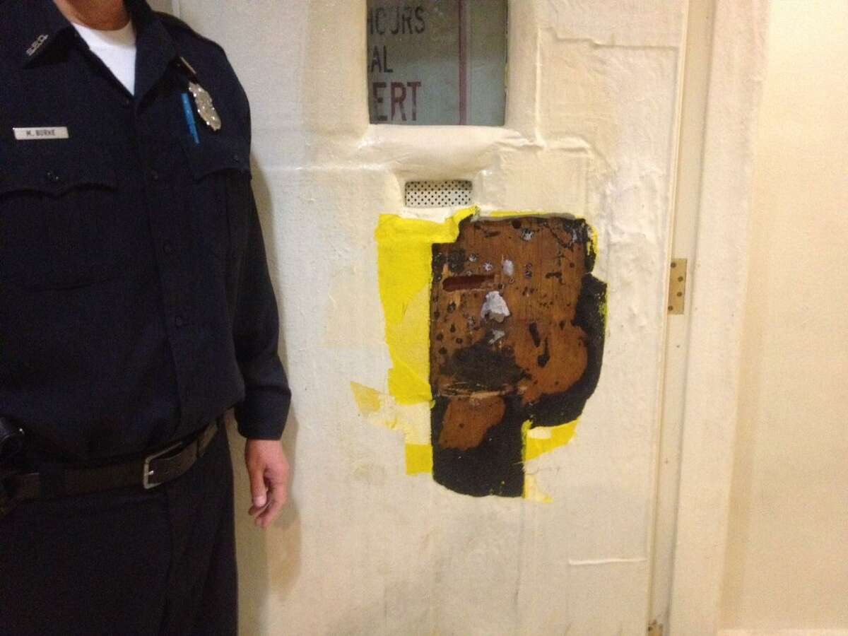 The door to the padded cell at police headquarters that police say a prisoner damaged early Wednesday morning.