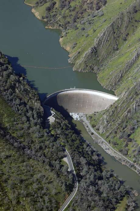 Monticello Dam at Lake Berryessaon Tuesday. The lake is full, full but poses no threat of the kind in Oroville last weekend. Photo: Scott Strazzante, The Chronicle